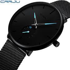 Crrju <b>Top Brand Luxury</b> Watches Men Stainless Steel <b>Ultra Thin</b> ...
