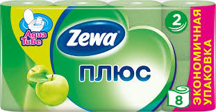 <b>Туалетная бумага Zewa Плюс</b> Яблоко, 2 слоя, 8 рулонов