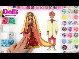 paper dolls indian <b>princess wedding</b> glitter drawing <b>dress</b> diy for <b>girls</b>