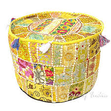 "EYES OF INDIA - 22 X 12"" YELLOW PATCHWORK <b>ROUND POUF</b> ..."