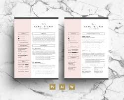 gray resume professional resume template pink gray simple modern layout two page cv business card covering letter instant