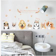 Fashion cartoon hand painted <b>puppy</b> wall sticker hat <b>flowers cute</b> ...