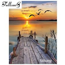 2019 <b>FULLCANG</b> Diamond Embroidery Sunset Scenery Seagull <b>Diy</b> ...