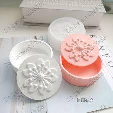 Round Jewelry <b>Box</b> Plaster Gypsum Silicone Mold Sakura Flower ...