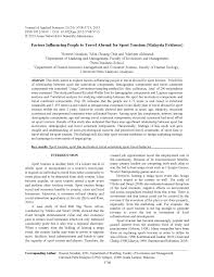 (PDF) Factors Influencing People to <b>Travel</b> Abroad for Sport Tourism ...