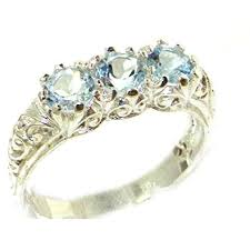 <b>925</b> Sterling <b>Silver Real Genuine</b> Aquamarine Womens Band Ring ...