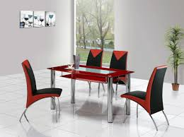 Black Leather Dining Room Chairs Ultramodern Round Glass Top Dining Tables With Wood Base And
