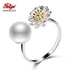 2019 <b>FEIGE</b> New Design <b>8 9mm</b> White Freshwater Pearl <b>Ring</b> Real ...