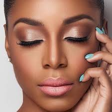 beautiful african american makeup i love this eye shadow the lipstick the blue nail polish everything just seems to match perfectly with her dark skin