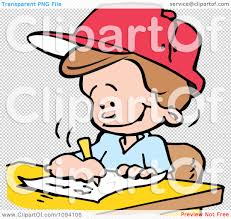 clipart school boy writing an essay royalty vector png file has a