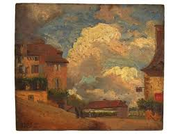 <b>Antique</b> French Country Landscape and <b>Village Painting</b>, Original ...
