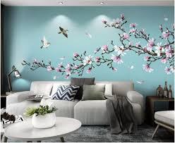 3d wallpaper cloth custom photo <b>Hand painted flowers and birds</b> ...