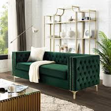 Sania <b>Hunter Green Velvet</b> Sofa- 3-Seat | Nailhead Trim | <b>Gold</b> Legs ...