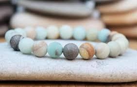 <b>8mm</b> Men <b>Natural</b> Gemstone amazonite Stone Therapy <b>Beads</b> Cuff ...