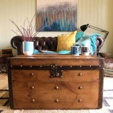 room vintage chest coffee table: victorian banded steamer trunk vintage stripped pine rustic chest coffee