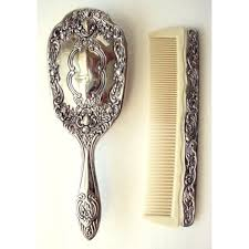 <b>Vintage</b> Hair <b>Brush</b> and Comb Silver <b>Plated</b> Floral Design ...