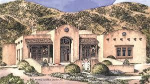 Pueblo House Plans and Pueblo Designs at BuilderHousePlans comAdobe Style House   Plan HWBDO