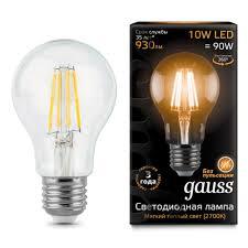 Светодиодная <b>лампа Gauss LED Filament</b> A60 E27 10W 2700К 1 ...