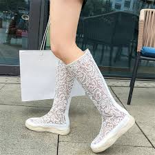 <b>NAYIDUYUN Women</b> Breathable Lace Knee High Booties Wedges ...