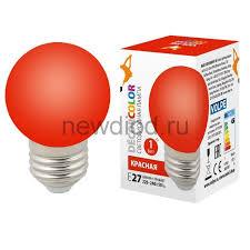 """Купить лампу светодиодную <b>LED</b>-<b>G45</b>-<b>1W</b>/<b>RED</b>/<b>E27</b>/<b>FR/С</b> Ф """"шар ..."""