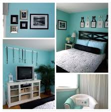 compact bedroom ideas for teenage blue walls brown furniture