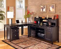 ravishing l shape home office table with wooden materials in dark accent and traditional brick astounding home office decor accent astounding