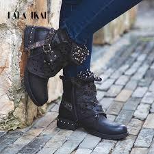 lala ikai boots women ankle square heels round toe zipper vintage button ladies female xwn1363 45