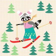 Cute <b>Funny</b> Raccoon On <b>Skiing</b> In The Forest. Winter <b>Knitted</b> Pattern ...