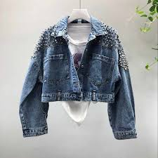 <b>Vintage rivet</b> cropped denim jacket korean jeans jacket women ...