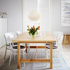 table seats etendable ikea chairs norden extendable dining table in solid birch seats   with idol white