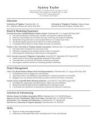 resume samples   uva career centerresume example sydney taylor