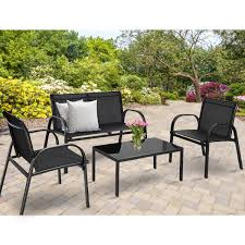 Costway <b>4 PCS</b> Patio Furniture Set Sofa <b>Coffee Table</b> Steel Frame ...