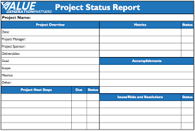 project management value generation partners vblog status report template value generation partners