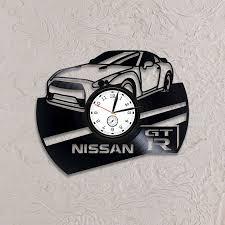 Car Art Nissan GT-R <b>Clock</b> Birthday Gift For Man Wall <b>Clock</b> Modern ...