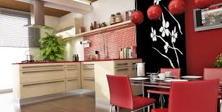 chinese style decor: gorgeous chinese kitchen and dining room with red decoration