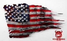 doggy bag battle worn american flag fluid metal sign