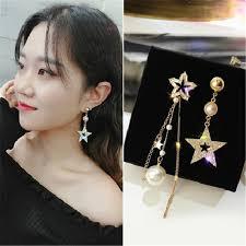 <b>S925 Silver Needle Asymmetric</b> Five-pointed Star Tassel Earrings ...