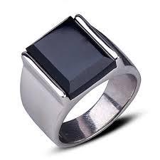 Retro Ring Silver Stainless Steel Ring <b>Man's</b> Black Onyx Ring ...