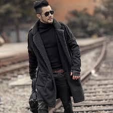 2018 Men slim <b>fashion European style</b> black cotton cardigan ...