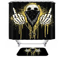 Skull Bathroom Decor Halloween Shower Curtain Hooks