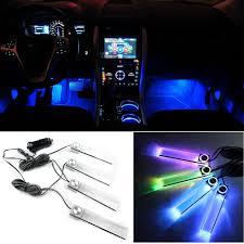 4pcsset multicolor automotive ambient light car led mood light interior decorative lights interior foot ambient interior lighting