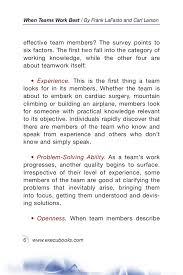 when teams work best team members and leaders tell what it tak when teams work best 6 000 team members and leaders tell what it takes to succeed