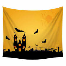 Funny <b>Halloween</b> skull skeleton bat <b>pumpkin Tree pattern</b> wall ...