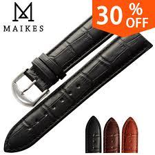 <b>MAIKES New watch</b> bracelet belt black watchbands genuine leather ...