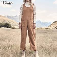 <b>2019</b> Women <b>Long</b> Jumpsuit Celmia <b>2019 Autumn</b> Sleeveless <b>Linen</b> ...