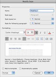 authoring techniques for accessible office documents word  image demonstrates location of size option in formatting section of modify style dialog