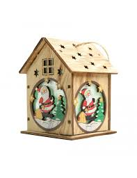 <b>Christmas</b> Luminous Wooden House with <b>Colorful</b> LEDs <b>Light DIY</b> ...