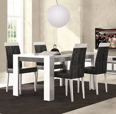 dining room tables chairs square: long white wooden table combined with black chairs on f the rug dining room table