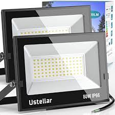 Ustellar 2 Pack 80W LED Flood Light <b>IP66 Waterproof</b> Outdoor ...