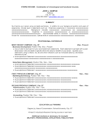 sample combination resume getessay biz 10 images of sample combination resume